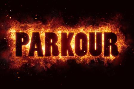 parkour text flame flames burn burning hot explosion