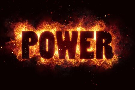 power energy text on fire flames explosion burning
