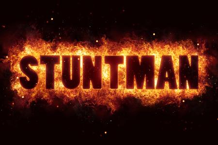 stunt stuntman text on fire flames explosion burning Stock Photo