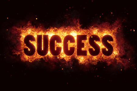 success business career text on fire flames explosion burning explode