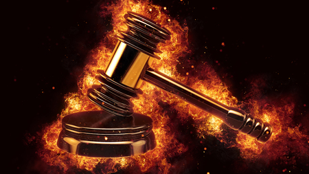 judge gavel fire flames explosion burning explode