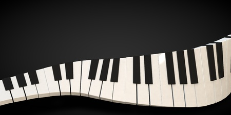 musical score: 3d render of a piano keyboard in a fluid wavelike movement