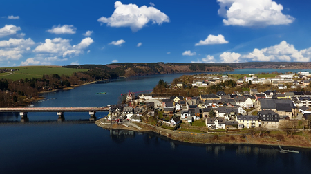 aerial view saalburg thuringia germany saale river town