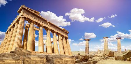 ruïnes van Parthenon tempel van godin Athena in Akropolis Athene, Griekenland