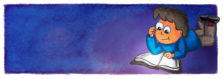 illustration boy reading book comic night chalk