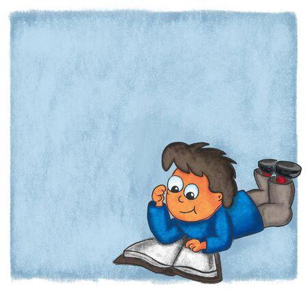 engrossed: illustration boy reading book comic evening chalk