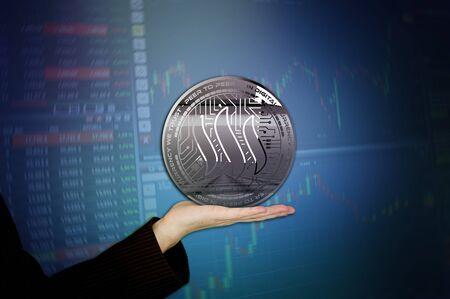 Photo silver steem steemit new virtual money 3D illustration