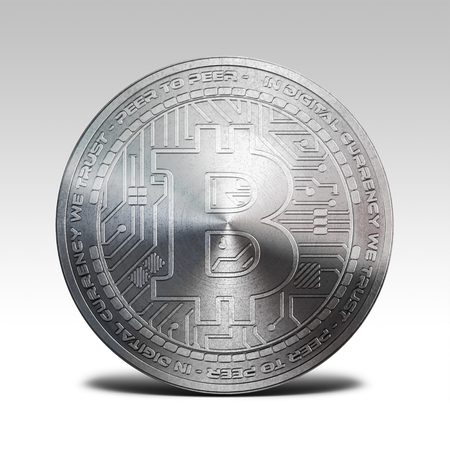 decentralized: silver bitcoin isolated on white background 3d illustration