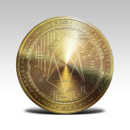 golden EOS coin isolated on white background 3d rendering Stock Photo