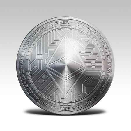 ホワイト バック グラウンド 3d レンダリングに分離された銀 ethereum コイン