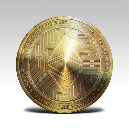 golden ethereum classic coin isolated on white background 3d rendering illustration