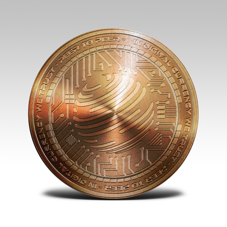 decentralized: copper factom coin isolated on white background 3d rendering illustration