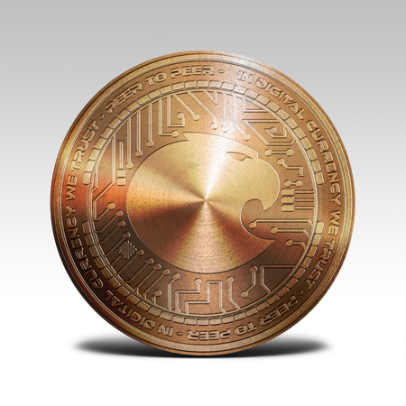 decentralized: copper aragon coin isolated on white background 3d rendering