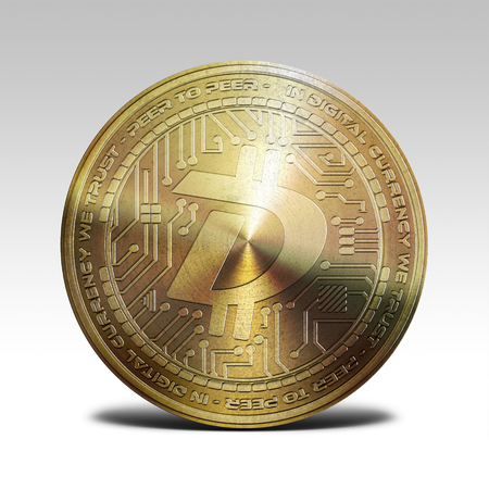 decentralized: golden digibyte coin isolated on white background 3d rendering Stock Photo