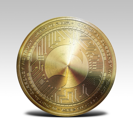 decentralized: golden musicoin coin isolated on white background 3d rendering Stock Photo