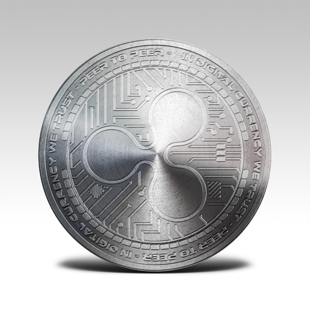 decentralized: silver ripple coin isolated on white background 3d rendering