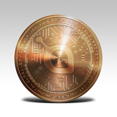 decentralized: copper siacoin coin isolated on white background 3d rendering illustration Stock Photo