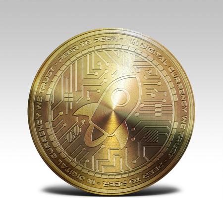 moneda estelar de oro de los lúmenes aislada en el fondo blanco representación 3d