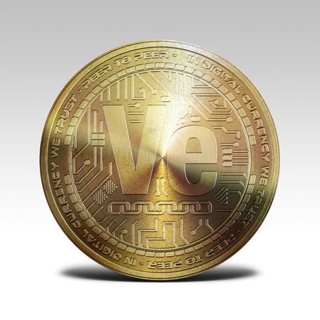decentralized: golden veritaseum coin isolated on white background 3d rendering