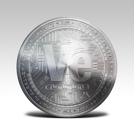 decentralized: silver veritaseum coin isolated on white background 3d rendering