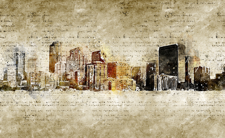 skyline of denver in modern and abstract vintage look