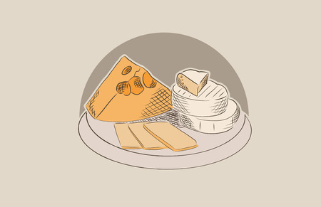 Cheese making concepts with various types of cheese set of vector