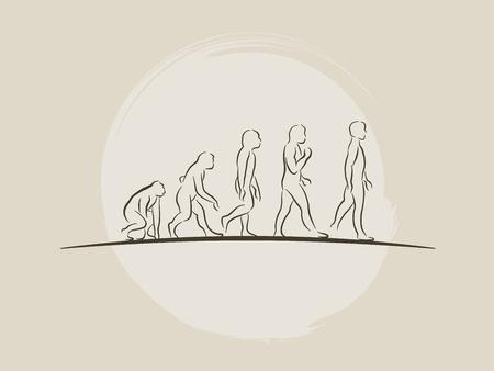 Teoría de la evolución del hombre - Desarrollo humano - Ilustración de vector de boceto dibujado a mano darwin