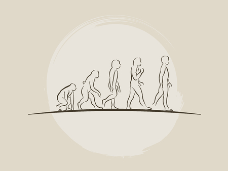 Theory of evolution of man - Human development - Hand drawn sketch vector illustration darwin