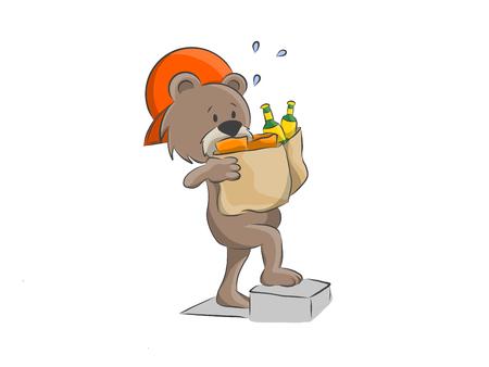 Cartoon illustration of a delivery bear delivering food.