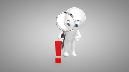 3d man looking through magnifying glass on a exclamation mark