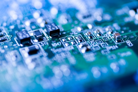 Abstract close up of Mainboard Electronic computer background blue Stock Photo