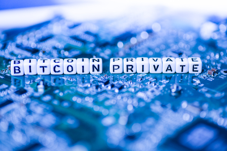 Word BITCOIN PRIVATE formed by alphabet blocks on mother cryptocurrency