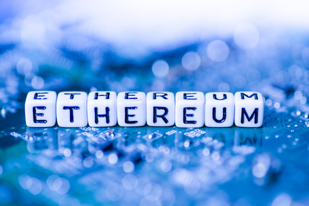 Word ETHEREUM formed by alphabet blocks on mother cryptocurrency