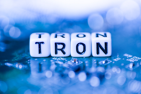 Word TRON formed by alphabet blocks on mother cryptocurrency