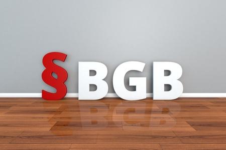 German Law BGB abbreviation for Civil Code 3d illustration Stock Photo