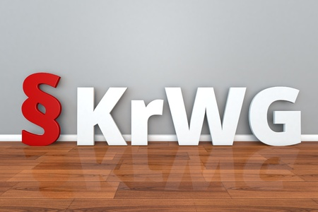 German Law KrWG abbreviation for Law to promote the circular economy and ensure the environmentally sound management of waste 3d illustration