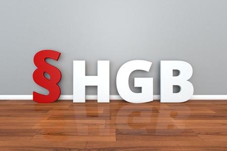 German Law HGB abbreviation for Commercial Code 3d illustration Handelsgesetzbuch Фото со стока - 101290922
