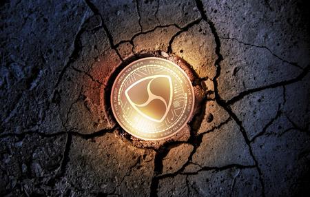 shiny golden NEM cryptocurrency coin on dry earth dessert background mining 3d rendering illustration