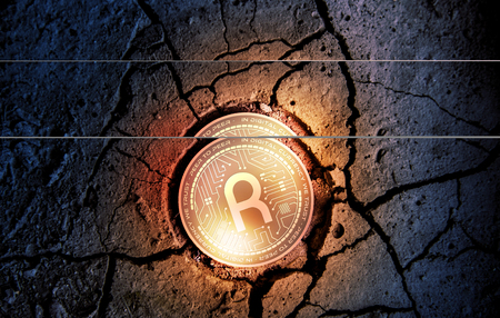 shiny golden RIVETZ cryptocurrency coin on dry earth dessert background mining 3d rendering illustration