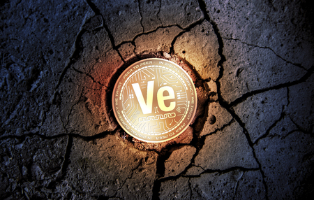 shiny golden VERITASEUM cryptocurrency coin on dry earth dessert background mining 3d rendering illustration 版權商用圖片