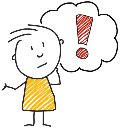 hombre de palo de pie y pensando ilustración de expresión de burbuja Ilustración de vector