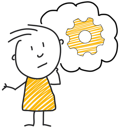 stick man standing and thinking bubble expression illustration yellow gear symbol