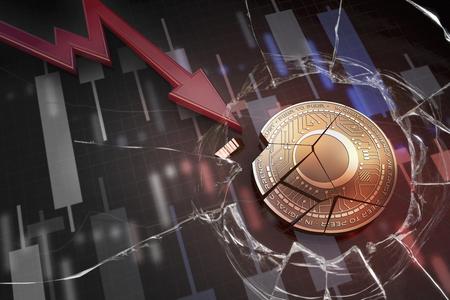 shiny golden BLACKMOON cryptocurrency coin broken on negative chart crash baisse falling lost deficit 3d rendering 版權商用圖片