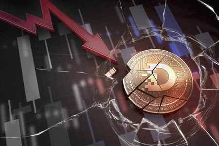 shiny golden DIMCOIN cryptocurrency coin broken on negative chart crash baisse falling lost deficit 3d rendering