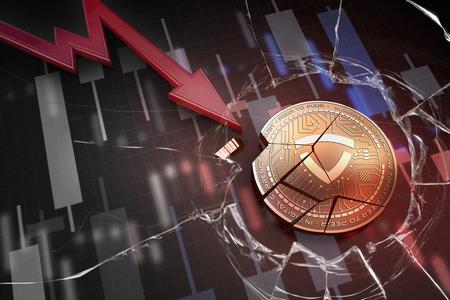 shiny golden GLADIUS cryptocurrency coin broken on negative chart crash baisse falling lost deficit 3d rendering 版權商用圖片