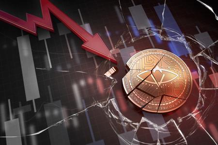 shiny golden SINGULAR DTV cryptocurrency coin broken on negative chart crash baisse falling lost deficit 3d rendering