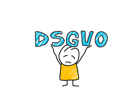 stick man in front of DSGVO letters. General Data Protection Regulation Ilustrace