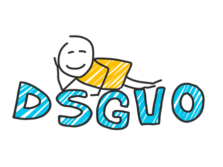 stick man in front of DSGVO letters. General Data Protection Regulation Illustration