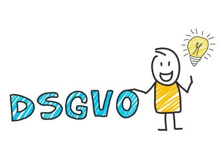 hombre del palillo delante de las letras DSGVO. Reglamento general de protección de datos