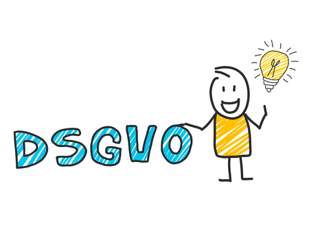 stick man in front of DSGVO letters. General Data Protection Regulation Ilustração